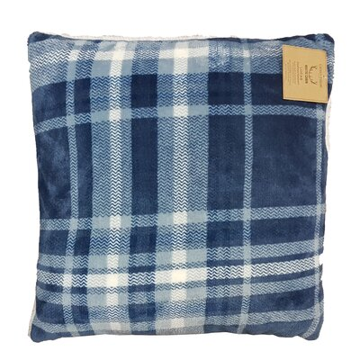 Rustic Cabin Super Soft Plaid and Sherpa Throw Pillow Color: Denim