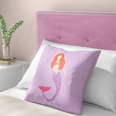 Angie Mermaid Indoor/Outdoor Throw Pillow Size: 18 H x 18 W x 3.5 D, Color: Purple