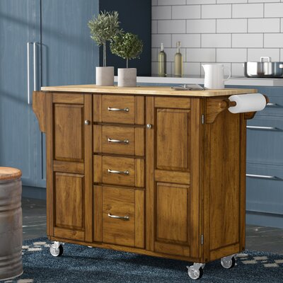 Adelle-a-Cart Kitchen Island with Butcher Block Top Base Finish: Oak