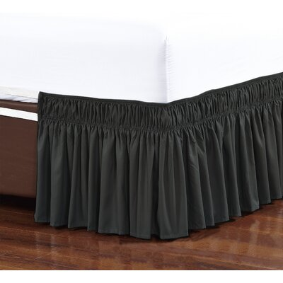 Easy Wrap Platform Free Dust Ruffle Bed Skirt Size: Queen/King, Color: Black