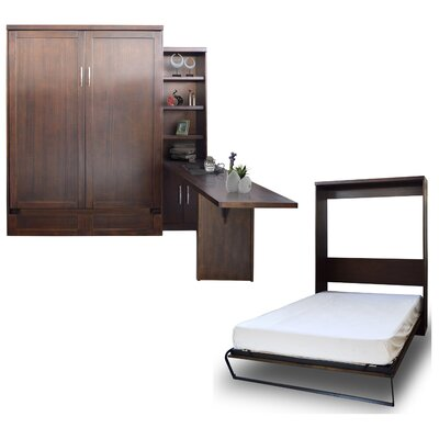 Quinn Queen Murphy Bed with Door Bookcase and Desk Color: Chocolate
