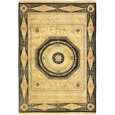One-of-a-Kind Hand-Woven Wool Gold/Black Area Rug Rug Size: Rectangle 47 x 611