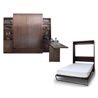 Quinn Queen Murphy Bed with 2 Door Bookcases and Desk Color: Chocolate