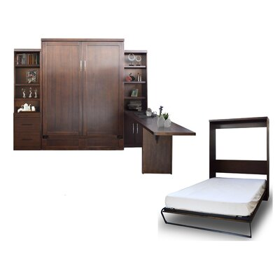 Quinn Queen Murphy Bed with Drawer Bookcase and Door Bookcase and Desk Color: Chocolate