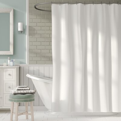 2-in-1 Waterproof Shower Curtain Color: White