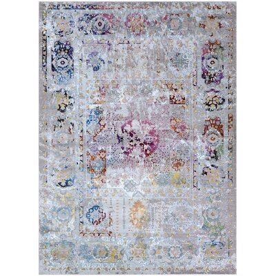 Nocera Gray/Pink Area Rug Rug Size: Rectangle 36 x 56