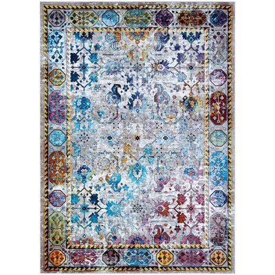 Nocera Blue/Yellow Area Rug Rug Size: Rectangle 53 x 76
