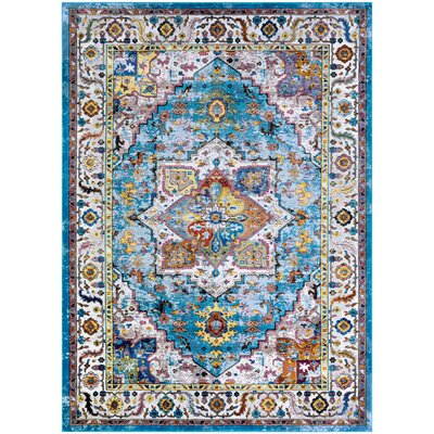 Nocera Blue/Ivory Area Rug Rug Size: Rectangle 53 x 76