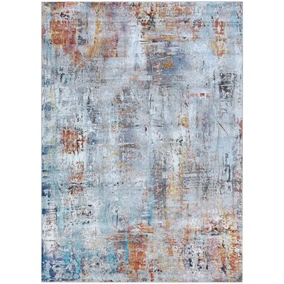 Goris Blue/Orange Area Rug Rug Size: Rectangle 53 x 76