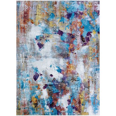 Goris Artists Palette Blue/Purple Area Rug Rug Size: Rectangle 53 x 76