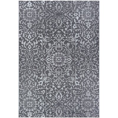 Kraatz Palmette Black Indoor/Outdoor Area Rug Rug Size: Rectangle 53 x 76