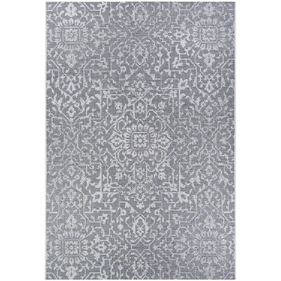 Kraatz Palmette Gray Indoor/Outdoor Area Rug Rug Size: Rectangle 76 x 109