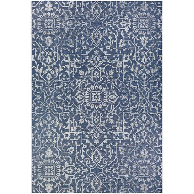 Kraatz Palmette Navy Blue/Ivory Indoor/Outdoor Area Rug Rug Size: Rectangle 2 x 37