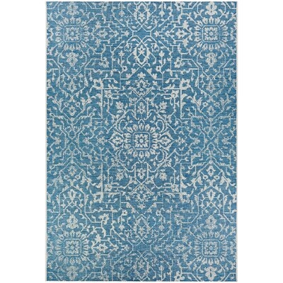 Kraatz Palmette Ocean Indoor/Outdoor Area Rug Rug Size: Rectangle 53 x 76