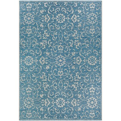 Kraatz Summer Vines Blue/Ivory Indoor/Outdoor Area Rug Rug Size: Rectangle 23 x 119 Runner
