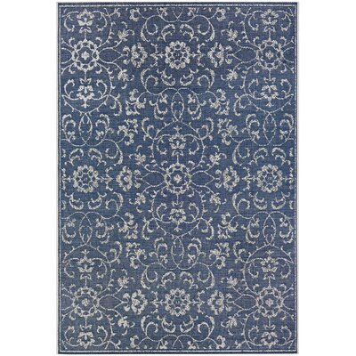 Kraatz Summer Vines Navy/Ivory Indoor/Outdoor Area Rug Rug Size: Rectangle 53 x 76