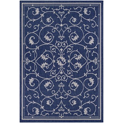 Feltner Blue/Ivory Indoor/Outdoor Area Rug Rug Size: Rectangle 53 x 76
