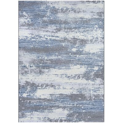 Driggers Gray/Blue Area Rug Rug Size: Rectangle 92 x 129