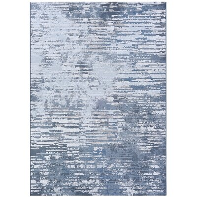 Driggers Gray/White Area Rug Rug Size: Rectangle 6'6