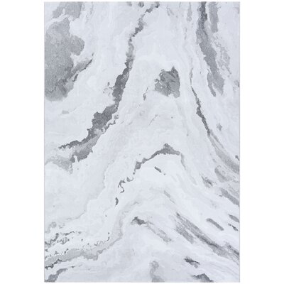 Driggers Abstract Marble Gray/White Area Rug Rug Size: Rectangle 66 x 96