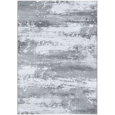 Driggers Gray/White Area Rug Rug Size: Rectangle 92 x 129