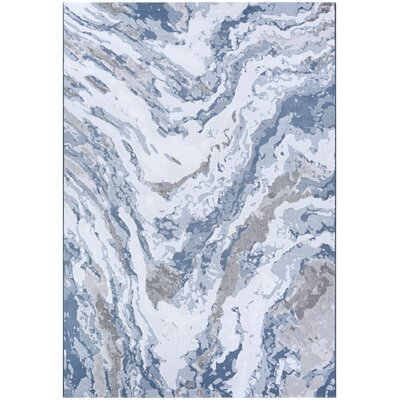 Driggers Abstract Marble Gray/Blue Area Rug Rug Size: Rectangle 66 x 96