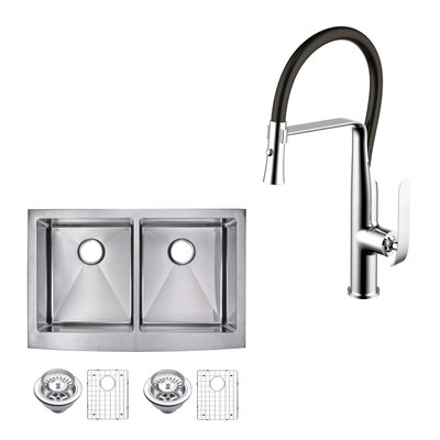 All-in-One Front Stainless Steel 33 x 10 Double Basin Apron Kitchen Sink with Faucet and Pull-out Sprayer