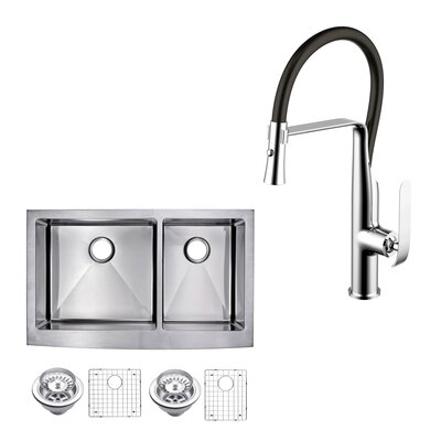 All-in-One Front Stainless Steel 36 x 10 Double Basin Apron Kitchen Sink with Faucet and Pull-out Sprayer