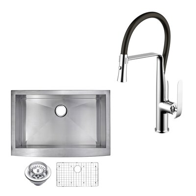 All-in-One Front Stainless Steel 30 x 10 Apron Kitchen Sink with Faucet and Pull-out Sprayer