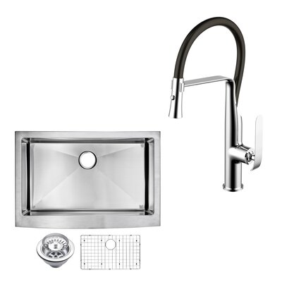 All-in-One Front Stainless Steel 36 x 10 Apron Kitchen Sink with Faucet and Pull-out Sprayer