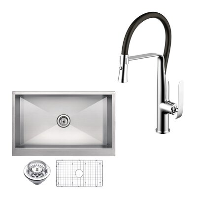 All-in-One Front Stainless Steel 33 x 10 Apron Kitchen Sink with Faucet and Pull-out Sprayer
