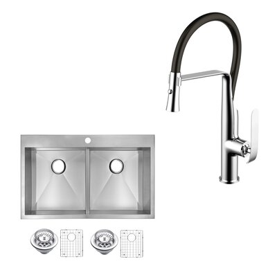 All-in-One Top Mount Stainless Steel 33 x 10 Double Basin Drop-in Kitchen Sink with Faucet