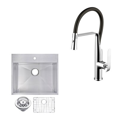 All-In-One Top Mount Stainless Steel 25 x 10 Kitchen Sink and Faucet Set