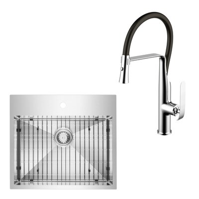 All-In-One Top Mount Stainless Steel 25 x 10 Kitchen Sink with Faucet Set