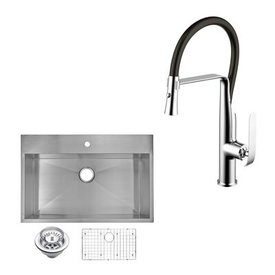 All-In-One Top Mount Stainless Steel 33 x 10 Kitchen Sink with Faucet and Pull-out Sprayer