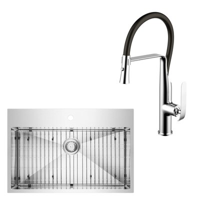 All-in-One Top Mount Stainless Steel 33 x 10 Apron Kitchen Sink with Faucet