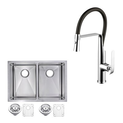 All-in-One Stainless Steel 29 x 10 Double Basin Undermount Kitchen Sink with Faucet