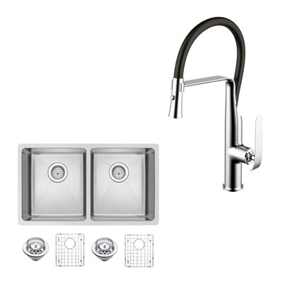 All-in-One Stainless Steel 31 x 10 Double Basin Undermount Kitchen Sink with Faucet