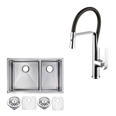 All-in-One Stainless Steel 32 x 10 Double Basin Undermount Kitchen Sink with Faucet
