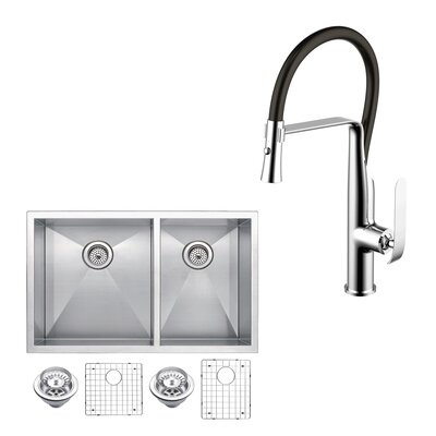 All-in-One Stainless Steel 33 x 10 Double Basin Undermount Kitchen Sink with Faucet