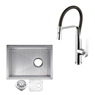 All-in-One Stainless Steel 15 x 10 Undermount Kitchen Sink with Faucet