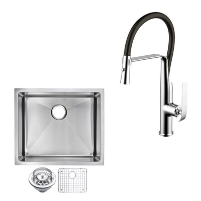 All-in-One Stainless Steel 23 x 10 Undermount Kitchen Sink with Faucet