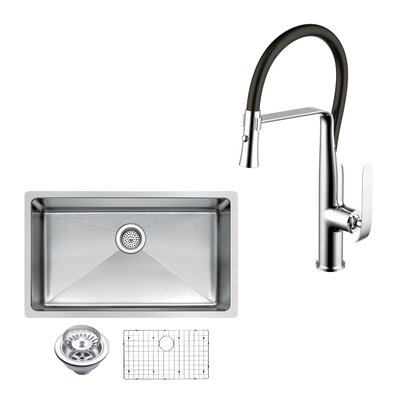 All-in-One Stainless Steel 30 x 10 Undermount Kitchen Sink with Faucet