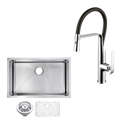 All-in-One Stainless Steel 32 x 10 Undermount Kitchen Sink with Faucet
