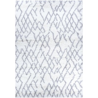 Drinnon White/Light Gray Area Rug Rug Size: Rectangle 53 x 76