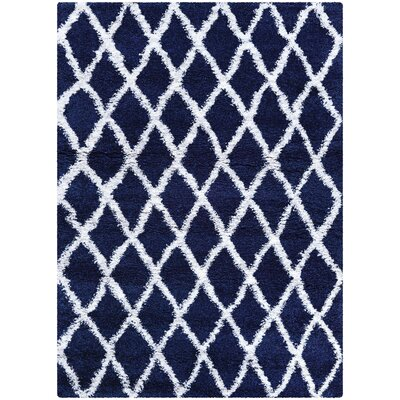 Cracraft Navy Blue/White Area Rug Rug Size: Runner 2'2