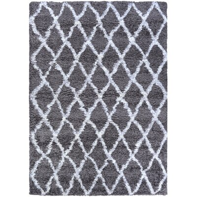 Cracraft Gray/White Area Rug Rug Size: Rectangle 53 x 76
