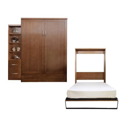 Quinn Queen Murphy Bed with Drawer Bookcase Color: Nutmeg