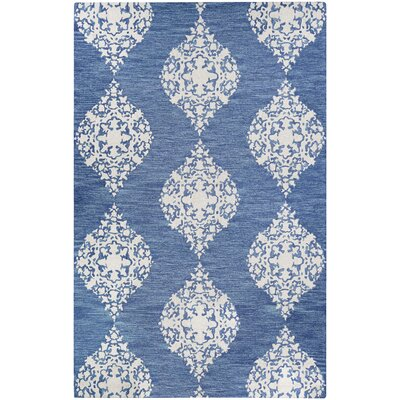 Orkney Ornament Hand-Woven Blue/Ivory Area Rug Rug Size: Rectangle 5 x 8