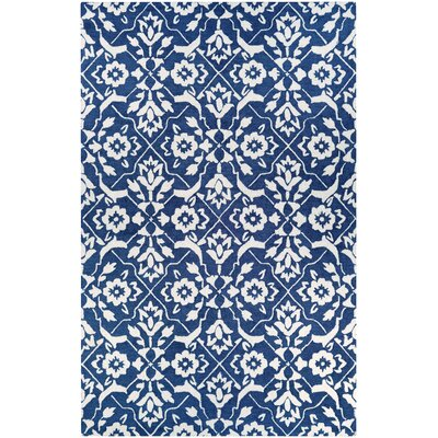 Fairgrove Tulip Lattice Hand-Woven Blue/White Area Rug Rug Size: Rectangle 2 x 3